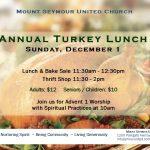 Annual Turkey Lunch  |  Sunday, December 1  |  11:30pm