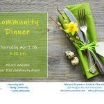 Community Dinner - Thursday, April 18, 6pm