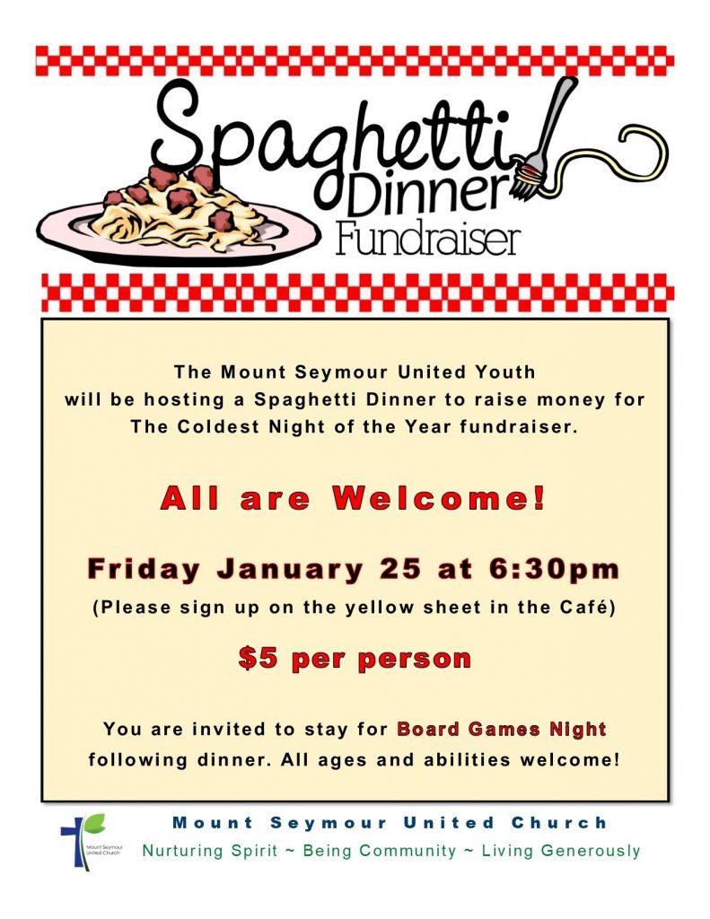 spaghetti dinner fundraiser friday january 25 at 6 30pm mt